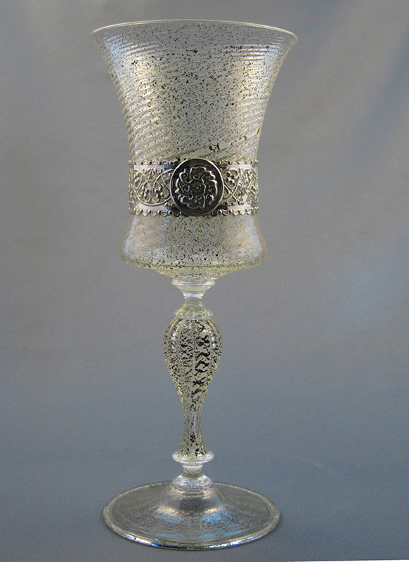 Venetial Mouth Blown Handmade Drinking Glasses with Sterling Silver Bands 01