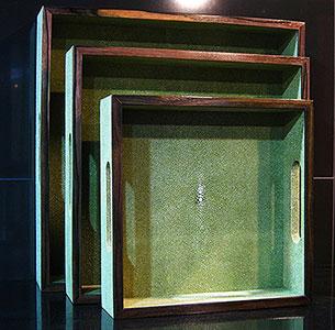 Square Tray set of 3 OLIVE with Ebony Trim